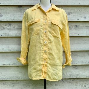 Vintage 90s Talbots Yellow Linen Button Down Shirt